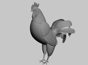 rooster 3d obj