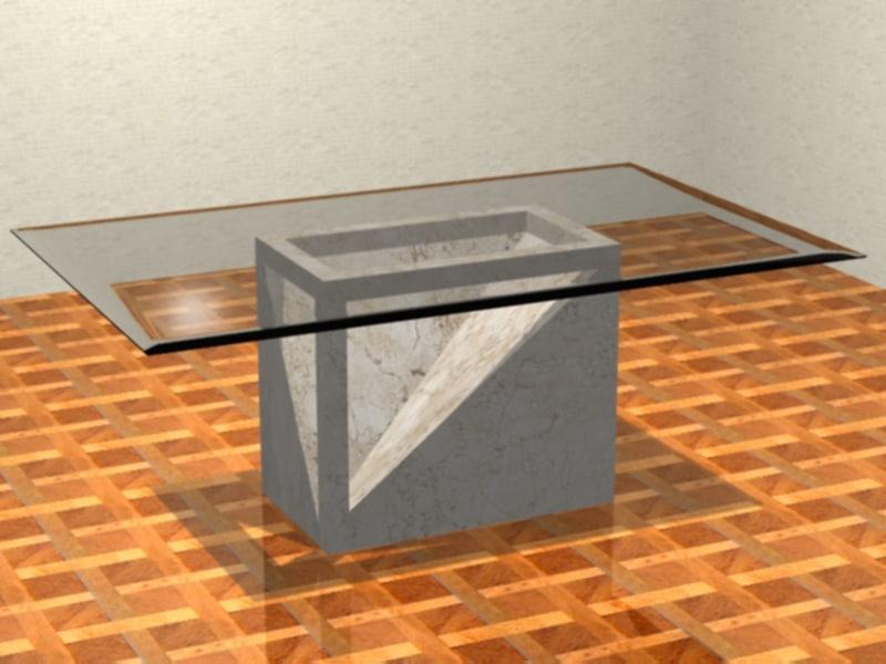 3d glass table model