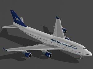 b 747-400 aerolineas argentinas 3d model