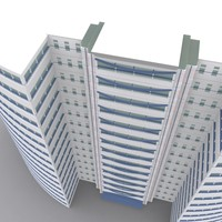 15 story modern office building 3d model