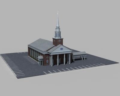 church temple building 3d model