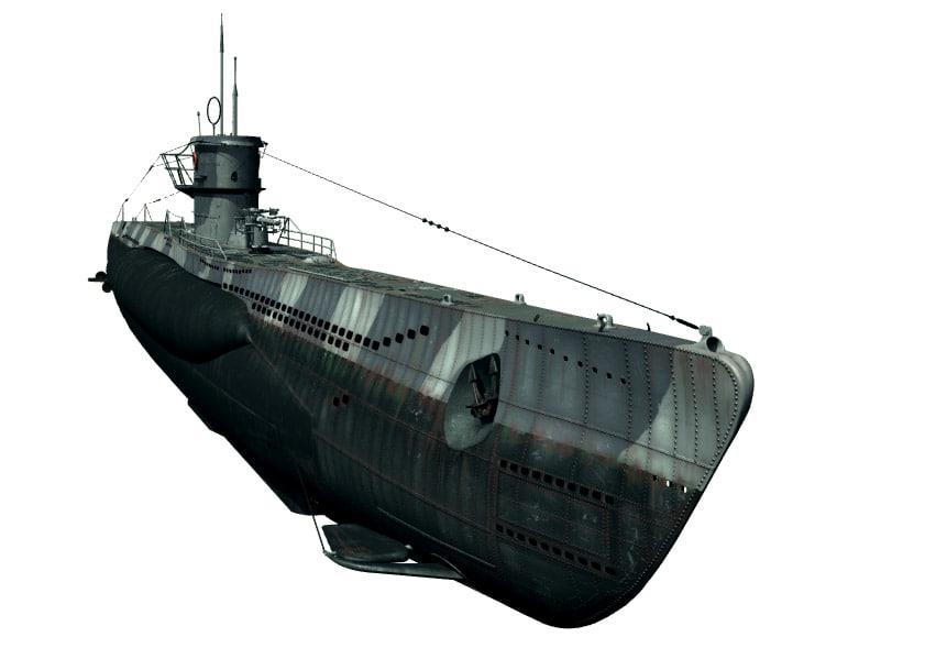 type viic u-boat 3d model