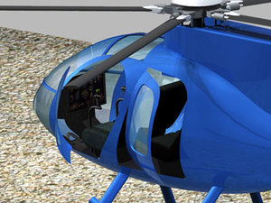 3d helicopter md500e