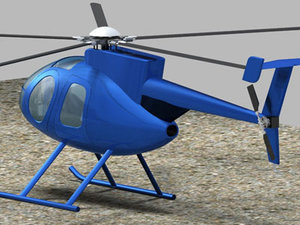 3d helicopter md500 md500e model