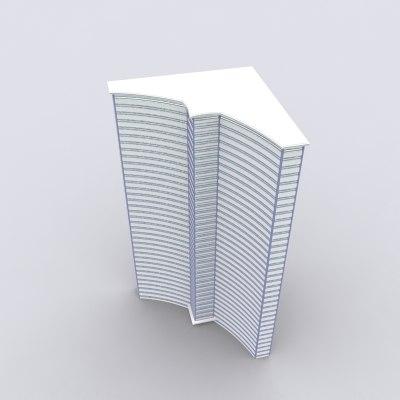 35 story modern hotel 3d model
