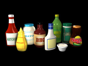 3d condiments ketchup mayonnaise sauce model