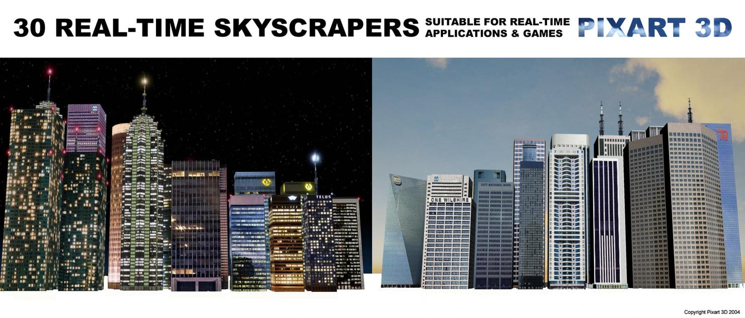 30 skyscrapers 3d model