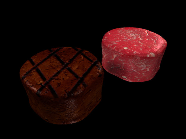 raw filet mignon 3d max