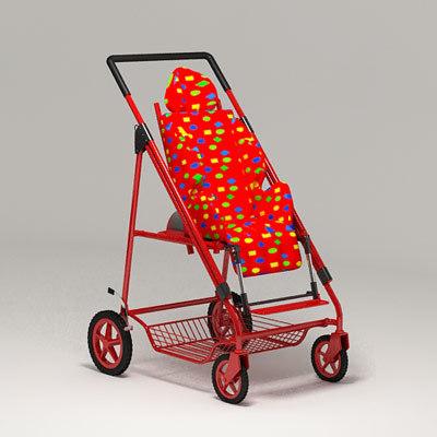 stroller pram 3d model
