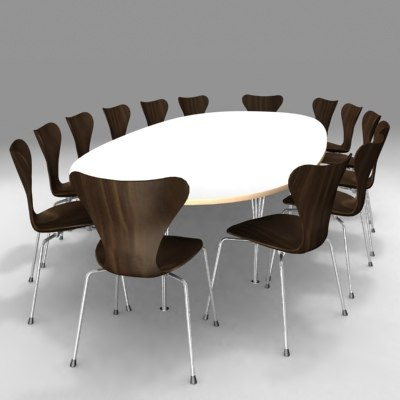 3ds max conference table chair arne