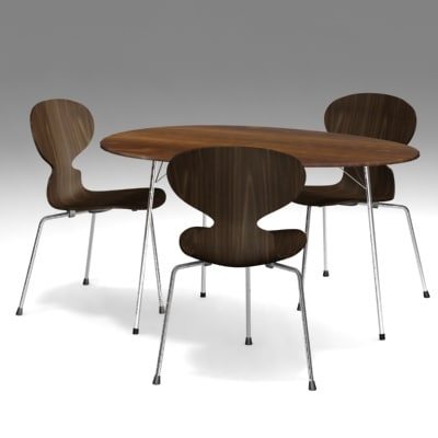 table ant chair arne jacobsen 3d model