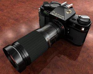 canon ae1 camera lens 3d model