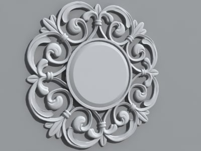 3ds max decorative circle wall mirror