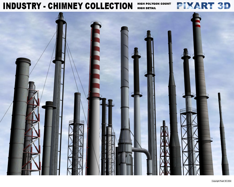 industrial chimneys 3d model