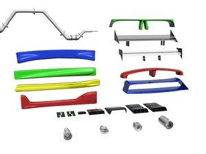 modding kit spoilers skirts 3d model