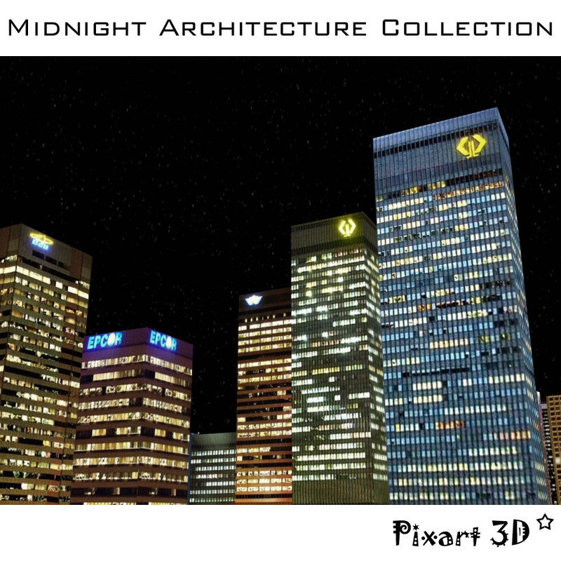 midnight architecture buildings 3d model