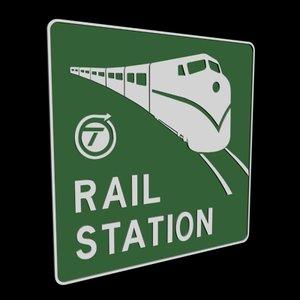 railroad station sign 3d model