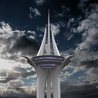 observation sky tower 3d max