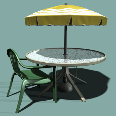 3d model patio table chair