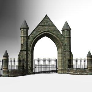 ornamental victorian gateway gates 3d 3ds
