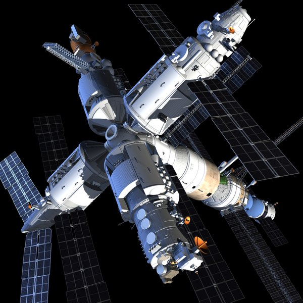 russia mir space station 3d model