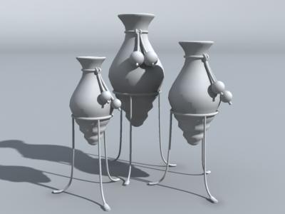 decorative urns 3d model