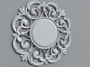 obj decorative circle wall mirror