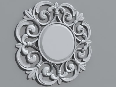 obj decorative circle wall mirror