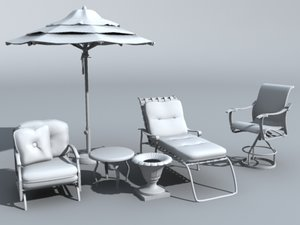 patio furniture set 3d model