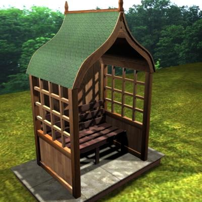 3d oak garden arbour model