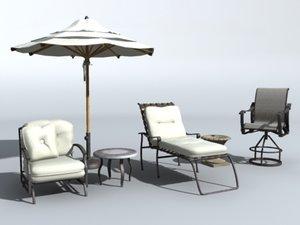 patio furniture set 3d max