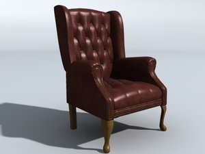 living room chair leather 3d model