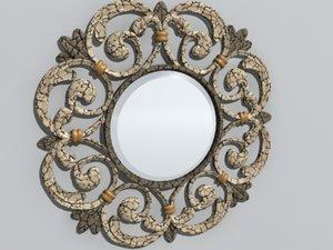 decorative circle wall mirror 3d model
