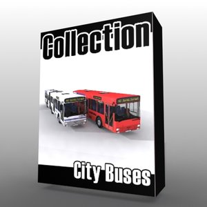 3d model of red city bus