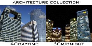 architecture 100 buildings cities 3d model