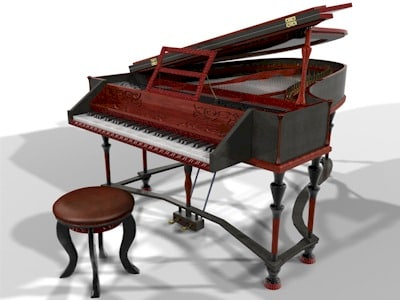 baroque grand piano 3d model