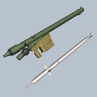 sa-16 missile launcher 3d model