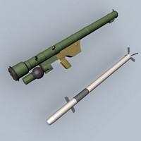 sa-14 missile launcher 3d model
