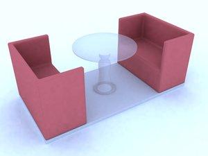 3d model necksmasher restaurant seating place