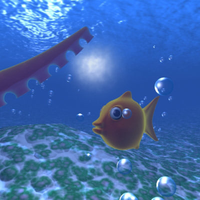 3d model fish underwater scene