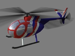 3d hughes 500 helicopter model