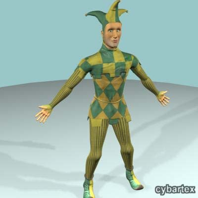 3d jester character rigged