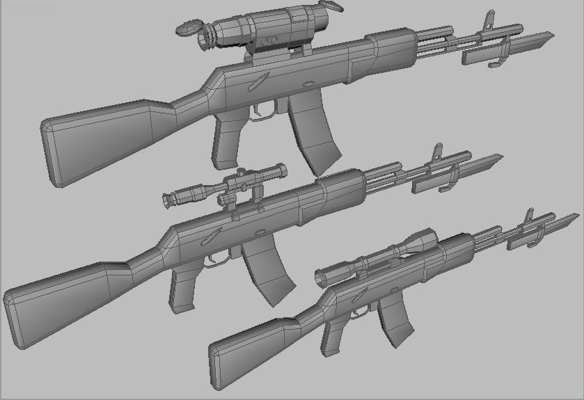 ak47 scopes 3d model