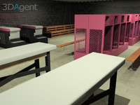 gym elements lockers sauna 3d model