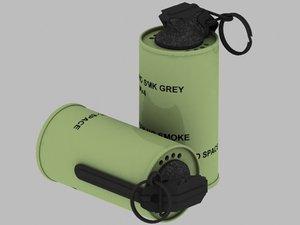 free british army smoke grenade 3d model