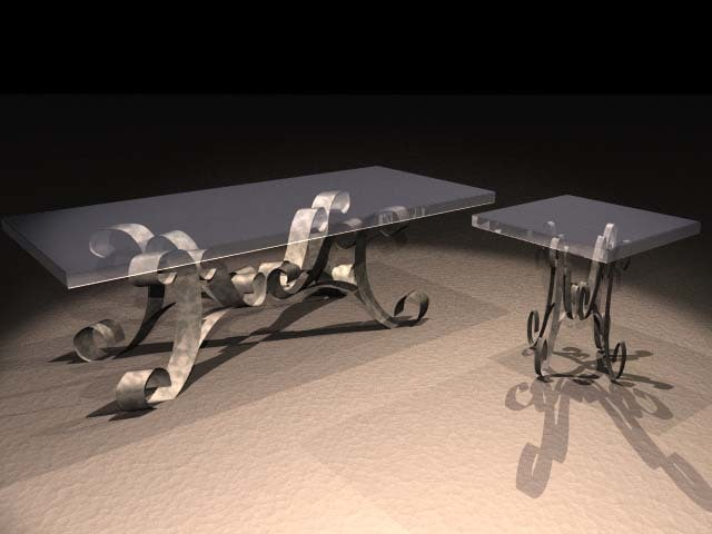 glass table 3d lwo