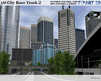 race track city skyscrapers 3d model
