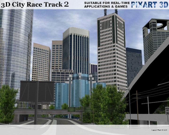 race track city skyscrapers 3d model
