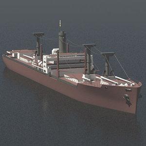 victory ship cargo 3d model