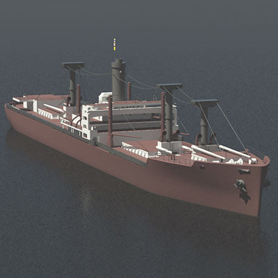 victory ship cargo 3d model